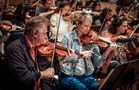 Violinists Bruce Dukov and Katia Popov perform on <em>Despicable Me 3</em>