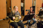 The French horn section enjoys a free moment