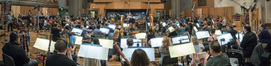 The orchestra records a cue for composer/conductor John Powell's score to <i>Ferdinand</i>