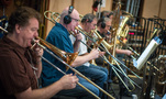 The trombones: Steve Holtman, Alex Iles, Alan Kaplan, and Bill Reichenbach