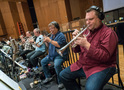 The trumpet section: Dan Fornero, Jon Lewis, Harry Kim, and Rob Schaer