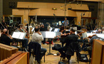 Composer/conductor Rob Simonsen records with the orchestra