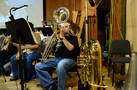 The tuba player performs on cimbasso