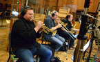 The Dixieland jazz combo records a cue for composer Rob Simonsen's score to <i>Going in Style</i>