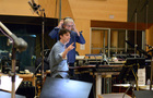 Director Zach Braff discusses a cue with conductor Mark Graham