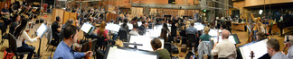 Composer Rob Simonsen and the orchestra record a cue from his score to <i>Going in Style</i>