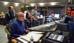 Orchestrator Milton Nelson, Ayumu Minezawa (standing), composer's assistant Asuka Ito, scoring technician David Marquette, and scoring mixer Dennis Sands