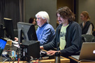 Music editor Tom Carlson and ProTools recordist Adam Olmstead