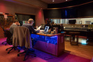 Composer Anthony Willis, Score Producer Peter Scaturro and Engineer Nick Spezia in the booth