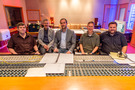 Concertmaster Alan Umstead, Score Producer Peter Scaturro, Composer Anthony Willis, Conductor David Shipps, and Engineer Nick Spezia at the console