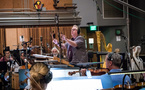 Composer/conductor Joel McNeely and the orchestra record a cue for <i>The Orville</i>