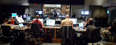 The booth watches conductor Nick Glennie-Smith records composer Geoff Zanelli's score to <i>Pirates of the Caribbean: Dead Men Tell No Tales</i> with the Hollywood Studio Symphony