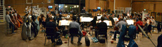 The orchestra prepares for the next cue during the <i>Rings</i> sessions