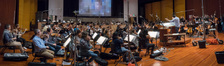 The orchestra records a cue with composer/conductor Jeff Russo