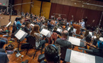 Composer/conductor Jeff Russo records with the orchestra