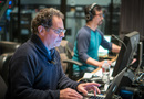 Music editor Steven Saltzman works on a cue with ProTools recordist Larry Mah