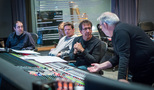 Scoring mixer Tommy Vicari (right), talks with orchestrators (r-l) Jeff Atmajian, Arturo Rodriguez and Emir Isilay