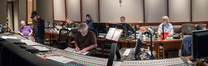 Inside the booth: orchestrator Bruce Fowler, composer Steve Jablonsky, music editor Bryan Lawson, scoring mixer Jeff Biggers (foreground),audio engineer/studio manager Lori Castro, ProTools recordist Kevin Globerman, and Paramount VP of Music Production Kim Seiniger