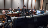 Composer Steve Jablonsky (center) and the music team work on the score for <i>Transformers: The Last Knight</i>