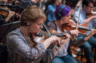 Concertmaster Belinda Broughton and the violins