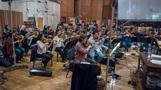 The violins perform during the <em>Deadpool 2</em> scoring sessions