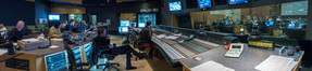 Composer Tyler Bates and the music team at work inside the booth