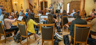 Jeff Beal conducts on <em>House of Cards</em>