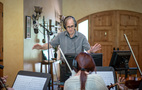 Composer Jeff Beal conducting on the series finale to <em>House of Cards</em>