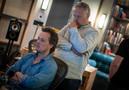 Composer Nathan Barr and scoring mixer Peter Cobbin listen to the test run