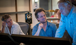 Music mixer Kirsty Whalley, composer Nathan Barr, and scoring mixer Peter Cobbin