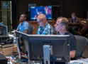 Assistant music editor Devaughn Watts, music editor Peter Oso Snell, and ProTools recordist Kevin Globerman work on a cue
