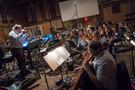 Orchestrator/conductor Nicholas Dodd records with the strings