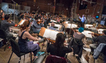 The Hollywood Studio Symphony performs a cue with conductor/orchestrator Nicholas Dodd