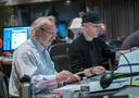 Orchestrator Nicholas Dodd and composer Andrew Lockington go over a cue