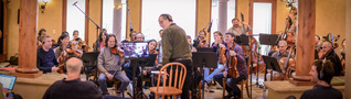 The strings recording the score to <em>Shock and Awe</em>