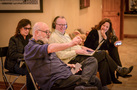 Director Rob Reiner (front) gives feedback as producer Michele Reiner, music editor Christopher Brooks and film music agent Laura Engel watch
