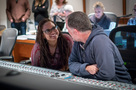 Director Ava DuVernay talks with scoring mixer Chris Fogel