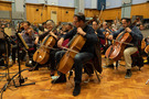 The cello section performing on <em>How to Train Your Dragon: The Hidden World</em>