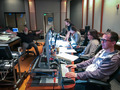 The back of the control room at Eastwood Scoring Stage: Scoring mixer John Whynot, composers Jeff and Mychael Danna, Nicholas Skalba and Music Editor Erich Stratmann