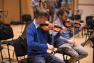 Violin players at Galaxy Studios