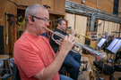 Jon Lewis and Rob Schaer perform trumpet on <em>Green Eggs and Ham</em>