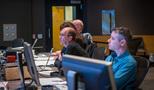 Music editor Jim Harrison and assistant scoring mixer Matt Friedman