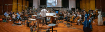 Composer Jeff Russo conducts the orchestra on his score for <i>The Umbrella Academy</i>