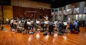 Composer/conductor Jeff Russo records his score to <em>The Umbrella Academy</em>