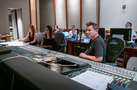 Orchestrator Amie Doherty, additional music composer Perrine Virgile, scoring assistant/score tech Tracie Turnbull (rear), scoring assistant Caleb Hsu (rear), scoring mixer Michael Perfitt, and scoring intern Sandy Chen