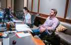 Scoring intern Sandy Chen and music editor Lodge Worster