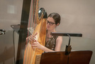 Jacqueline Marshall plays the harp on <em>The Umbrella Academy</em>