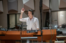 Composer/conductor Jeff Russo prepares to give the downbeat