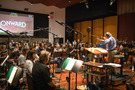 Nicholas Dodd conducts the Hollywood Studio Symphony on <em>Onward</em>