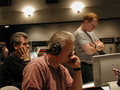 Orchestrator Steve Bartek (left), Sony stagehand Mark Eshelman (center), and composer Danny Elfman (right) contemplate a cue.